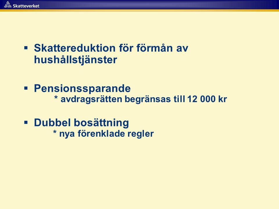  Skattereduktion för förmån av hushållstjänster  Pensionssparande * avdragsrätten begränsas till 12 000 kr  Dubbel bosättning * nya förenklade regl