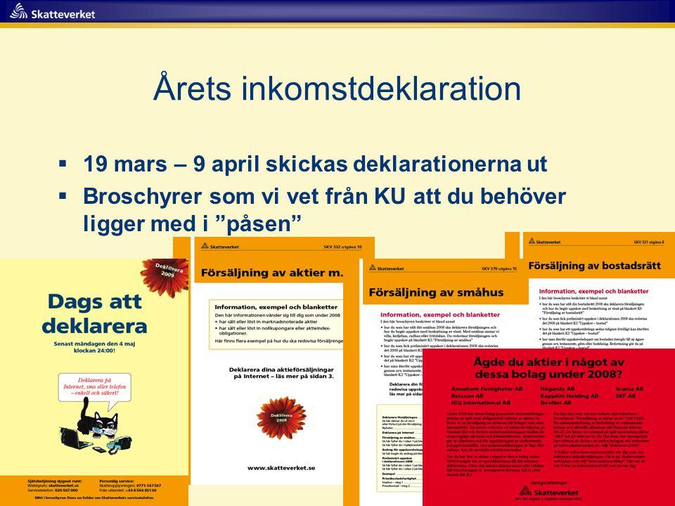 """Årets inkomstdeklaration  19 mars – 9 april skickas deklarationerna ut  Broschyrer som vi vet från KU att du behöver ligger med i """"påsen"""""""