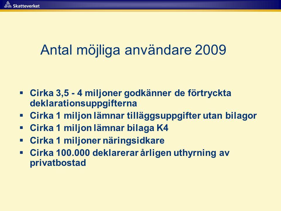 Antal möjliga användare 2009  Cirka 3,5 - 4 miljoner godkänner de förtryckta deklarationsuppgifterna  Cirka 1 miljon lämnar tilläggsuppgifter utan b