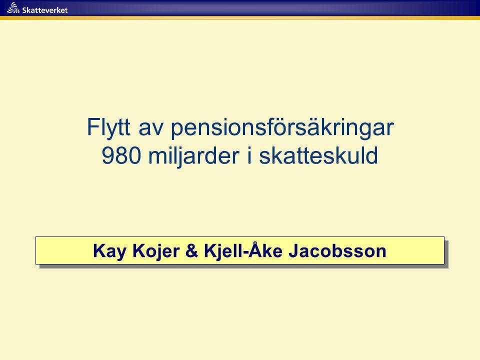 Kay Kojer & Kjell-Åke Jacobsson Flytt av pensionsförsäkringar 980 miljarder i skatteskuld