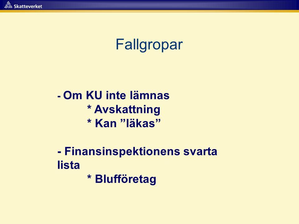 """Fallgropar - Om KU inte lämnas * Avskattning * Kan """"läkas"""" - Finansinspektionens svarta lista * Blufföretag"""