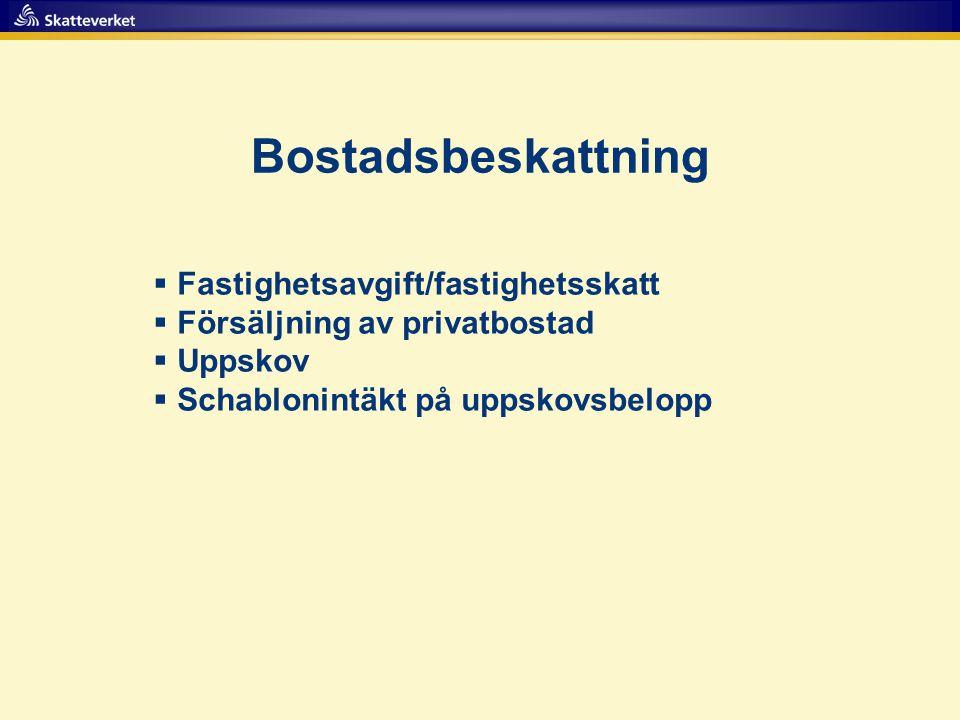 Bostadsbeskattning  Fastighetsavgift/fastighetsskatt  Försäljning av privatbostad  Uppskov  Schablonintäkt på uppskovsbelopp