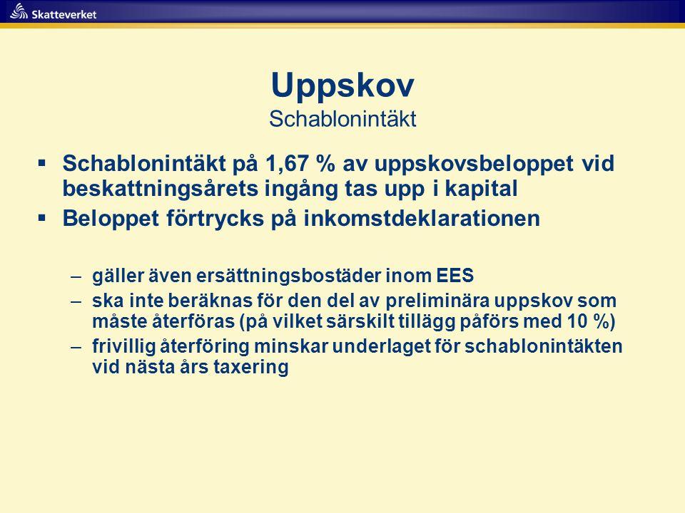 Uppskov Schablonintäkt  Schablonintäkt på 1,67 % av uppskovsbeloppet vid beskattningsårets ingång tas upp i kapital  Beloppet förtrycks på inkomstde