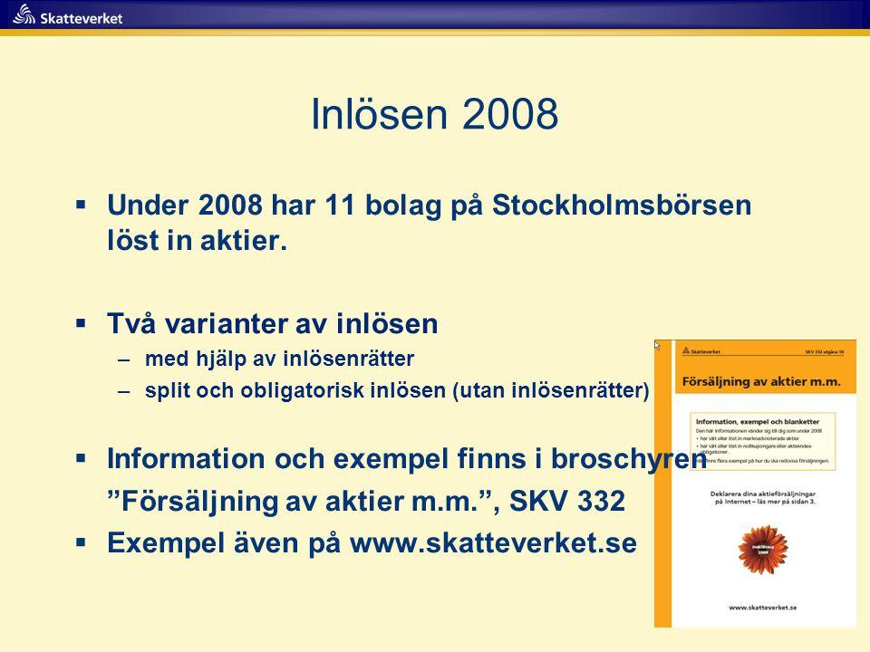 Inlösen 2008  Under 2008 har 11 bolag på Stockholmsbörsen löst in aktier.  Två varianter av inlösen –med hjälp av inlösenrätter –split och obligator