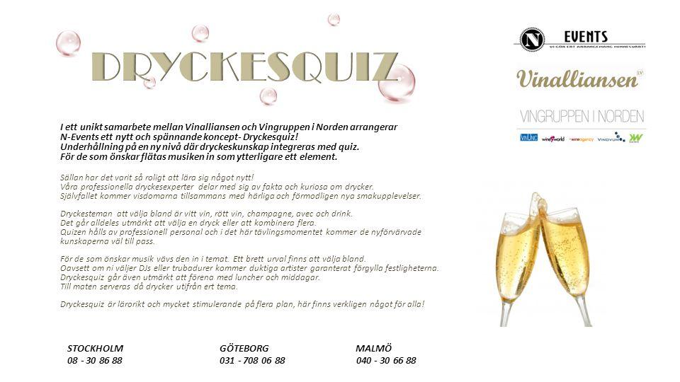 I ett unikt samarbete mellan Vinalliansen och Vingruppen i Norden arrangerar N-Events ett nytt och spännande koncept- Dryckesquiz.