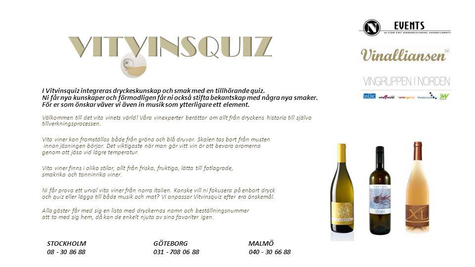 I Vitvinsquiz integreras dryckeskunskap och smak med en tillhörande quiz.