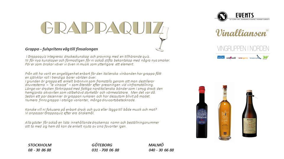 Grappa – fulspritens väg till finsalongen I Grappaquiz integreras dryckeskunskap och provning med en tillhörande quiz.