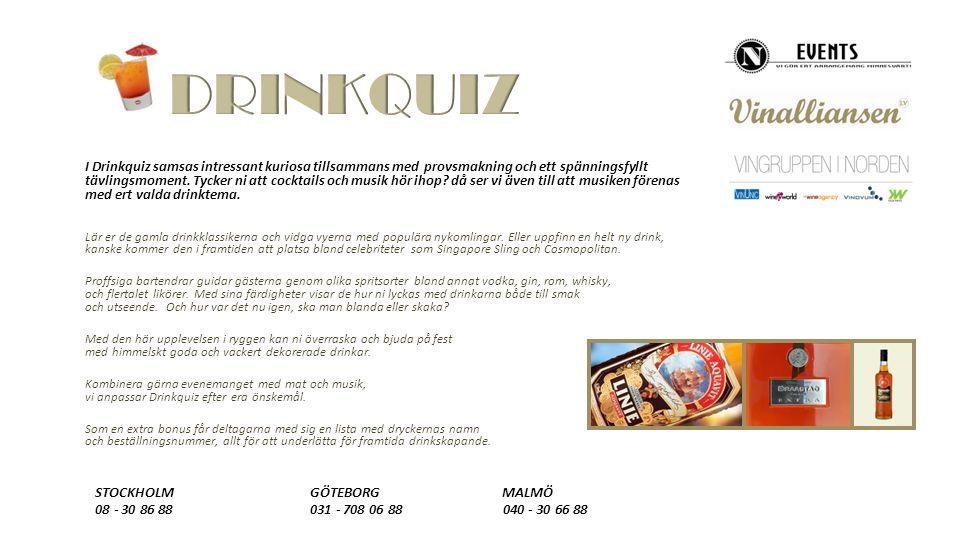 I Drinkquiz samsas intressant kuriosa tillsammans med provsmakning och ett spänningsfyllt tävlingsmoment.