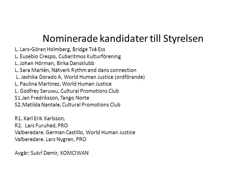 Nominerade kandidater till Styrelsen L.Lars-Göran Holmberg, Bridge Två Ess L.