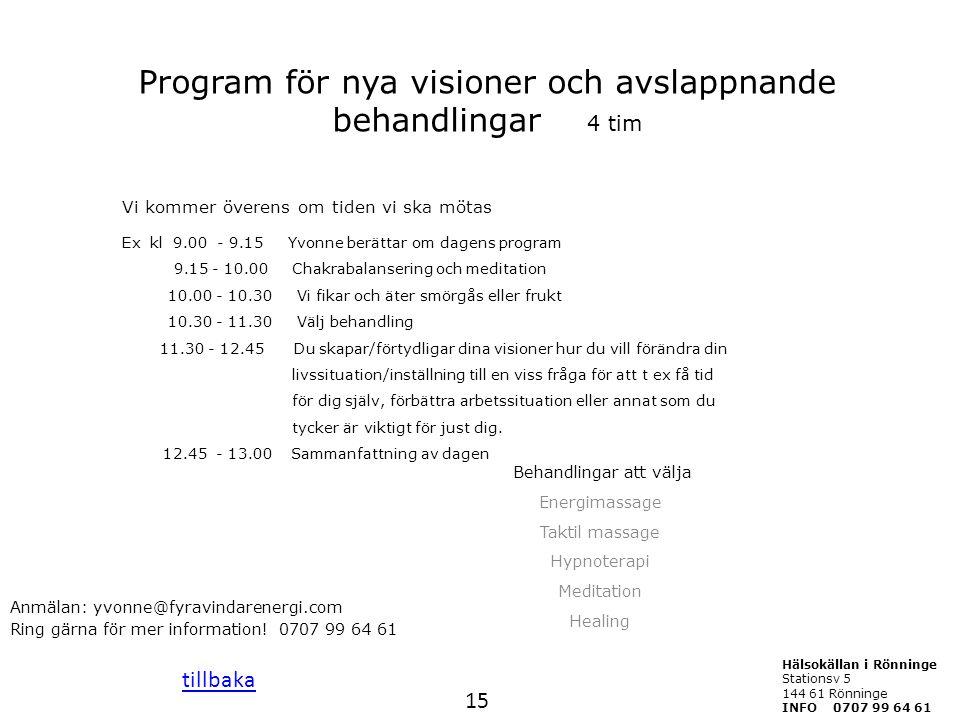 Program för nya visioner och avslappnande behandlingar 4 tim Vi kommer överens om tiden vi ska mötas Ex kl 9.00 - 9.15 Yvonne berättar om dagens progr