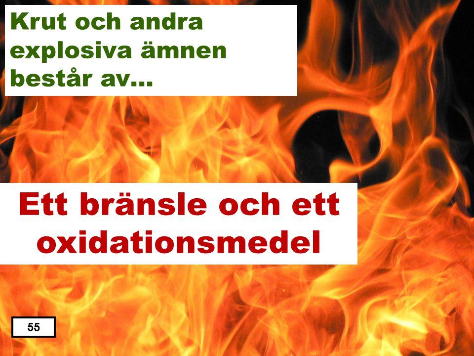 Ett bränsle och ett oxidationsmedel Ett bränsle och en oxalsyra Ett bränsle och koldioxid Ett bränsle och ett laxeringsmedel Ett bränsle och en oxalat