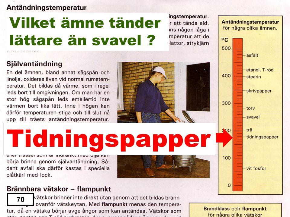 Stearin Asfalt Tidningspapper Skrivpapper torv 69 Vilket ämne tänder lättare än svavel ?