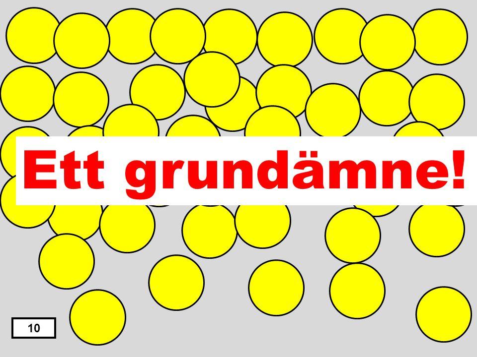 En vätska En gas En blandning En legering Ett grundämne 9 Ett ämne som bara har samma slags atomer är ett…