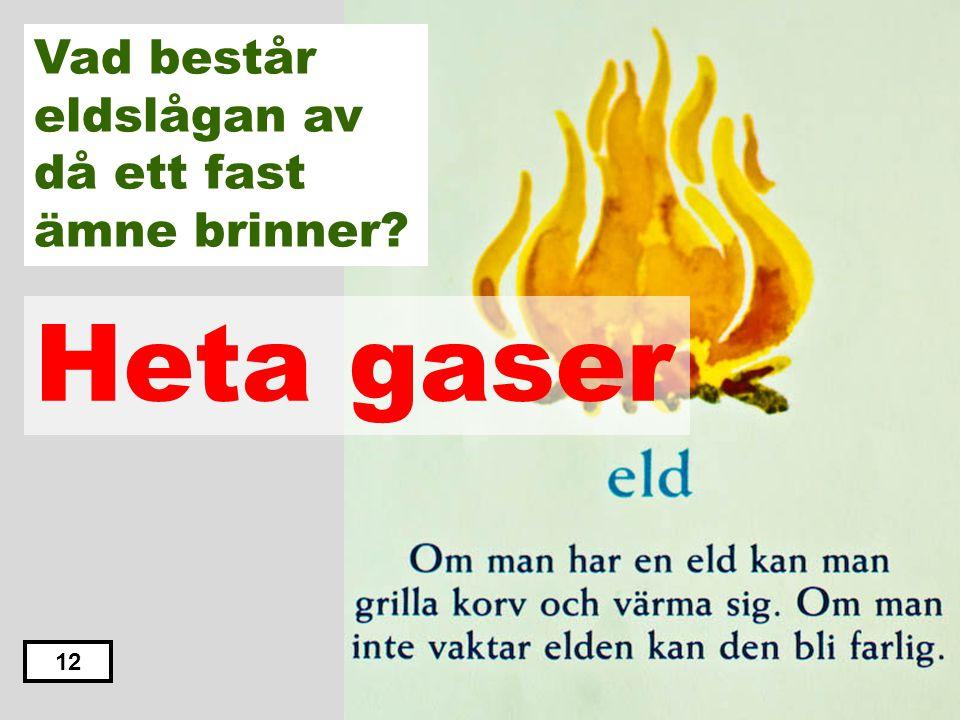Kalla gaser Heta vätskor Heta gaser Kalla vätskor Hett pulver 11 Vad består eldslågan av då ett fast ämne brinner?