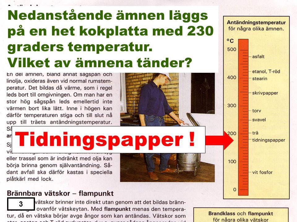 Stearin Svavel Tidningspapper Torv Skrivpapper 2 Nedanstående ämnen läggs på en het kokplatta med 230 graders temperatur. Vilket av ämnena tänder?