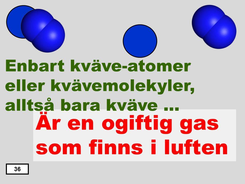 Är en gas som är explosiv Är en giftig vätska Är en giftig gas Är en ogiftig gas som finns i luften Finns inte fritt i naturen 35 Enbart kväve-atomer
