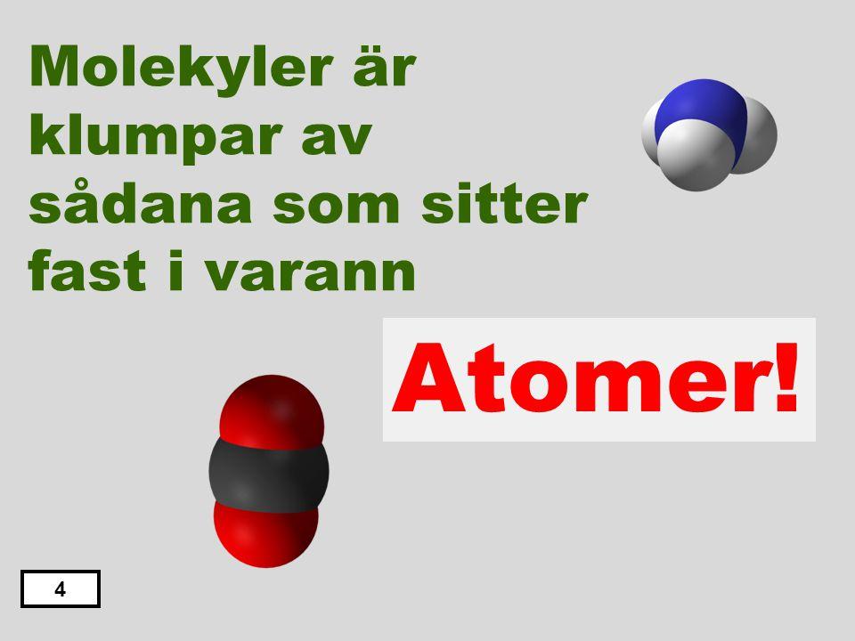 Molekyler är klumpar av sådana som sitter fast i varann Elektroner Neutroner Atomer Fotoner Protoner 3