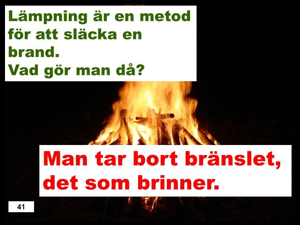 Man sprutar vatten på branden Man tar bort bränslet, det som brinner Man kväver eleden Man mörklägger rummet där det brinner Man blåser på elden 40 Lä