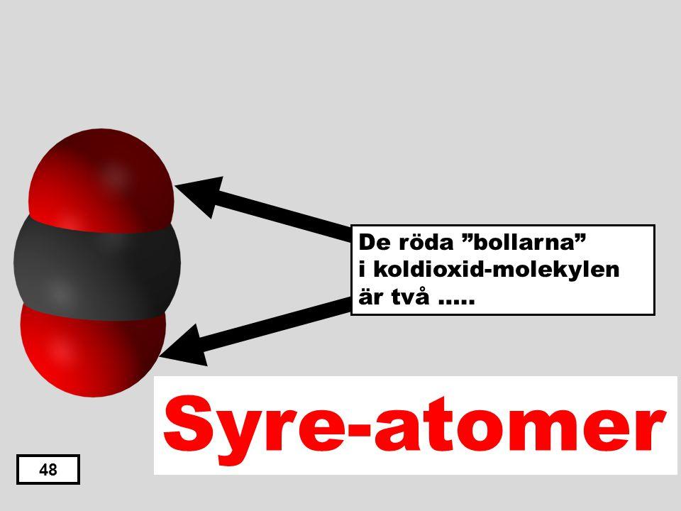 """Kväve-atomer Klor-atomer Väte-atomer Kol-atomer Syre-atomer 47 De röda """"bollarna"""" i koldioxid-molekylen är två ….."""