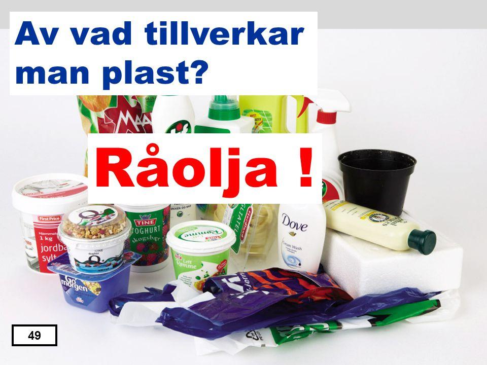 Järnmalm Trä Vatten Sand Råolja 48 Av vad tillverkar man plast?