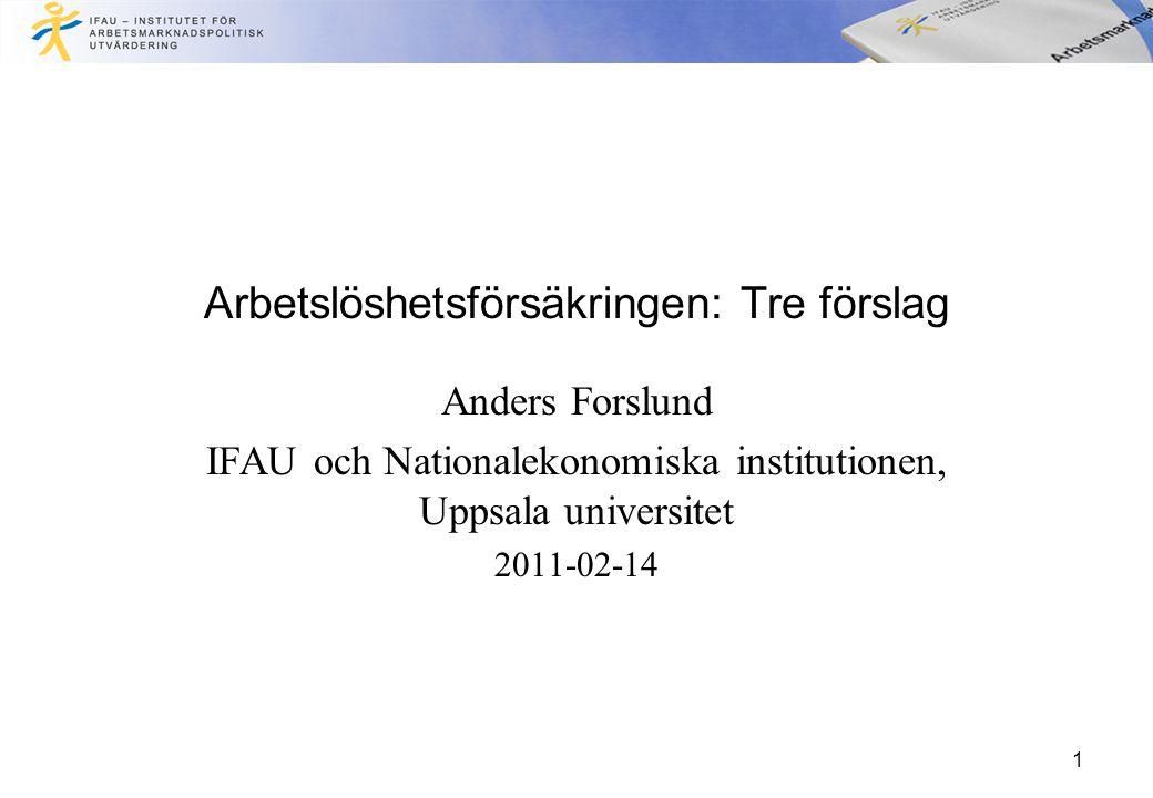 Arbetslöshetsförsäkringen: Tre förslag Anders Forslund IFAU och Nationalekonomiska institutionen, Uppsala universitet 2011-02-14 1
