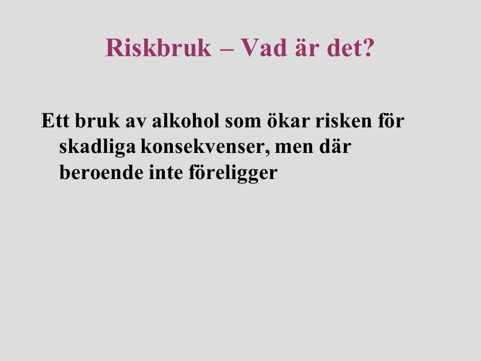 Riskbruk – Vad är det? Ett bruk av alkohol som ökar risken för skadliga konsekvenser, men där beroende inte föreligger