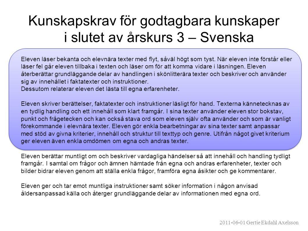 Kunskapskrav för godtagbara kunskaper i slutet av årskurs 3 – Svenska Eleven läser bekanta och elevnära texter med flyt, såväl högt som tyst.