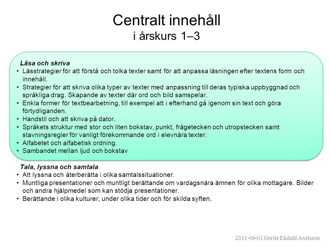 Centralt innehåll i årskurs 1–3 Läsa och skriva •Lässtrategier för att förstå och tolka texter samt för att anpassa läsningen efter textens form och innehåll.