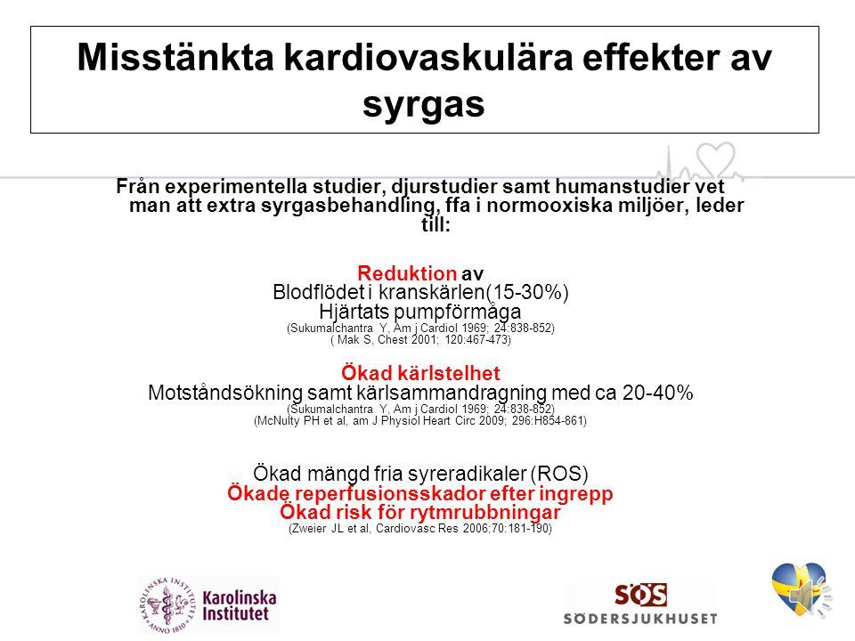 Misstänkta kardiovaskulära effekter av syrgas Hypotes bakom rekommendationen att ge syrgas: Ökad syretillförsel minskar hjärtinfarktens storlek genom