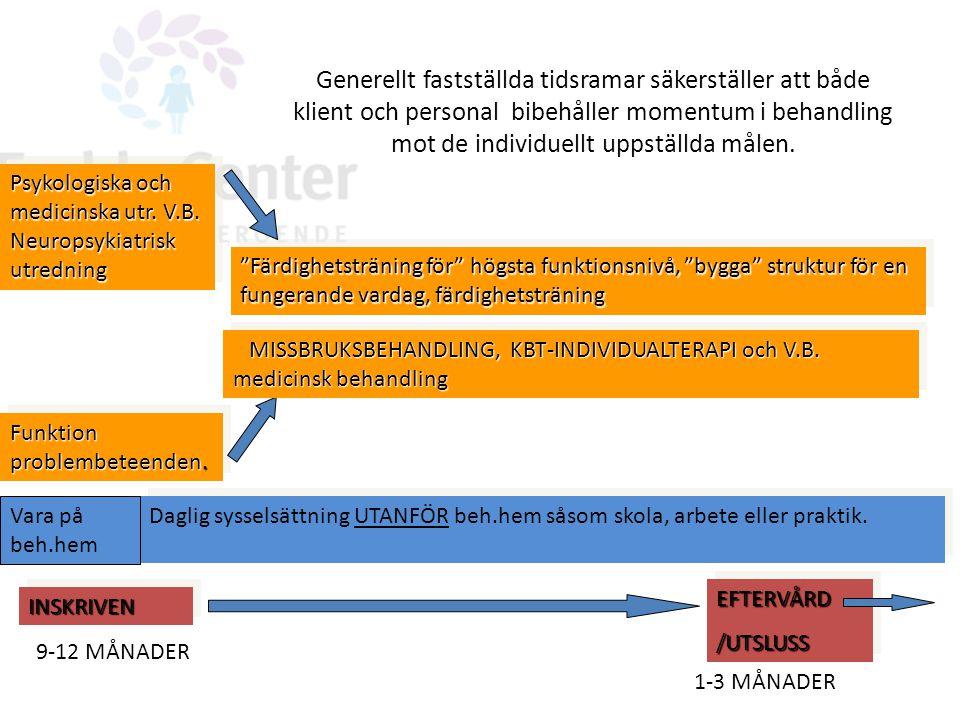 INSKRIVENINSKRIVEN EFTERVÅRD/UTSLUSSEFTERVÅRD/UTSLUSS 9-12 MÅNADER Funktion problembeteenden. Psykologiska och medicinska utr. V.B. Neuropsykiatrisk u