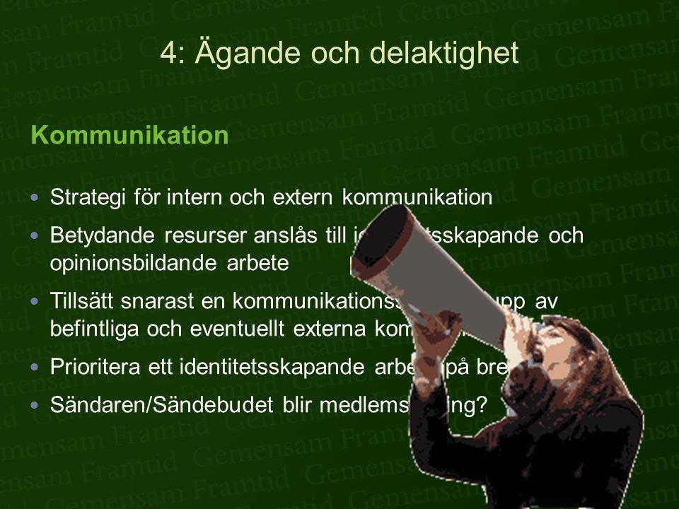 4: Ägande och delaktighet  Strategi för intern och extern kommunikation  Betydande resurser anslås till identitetsskapande och opinionsbildande arbete  Tillsätt snarast en kommunikationsstrategigrupp av befintliga och eventuellt externa kommunikatörer.