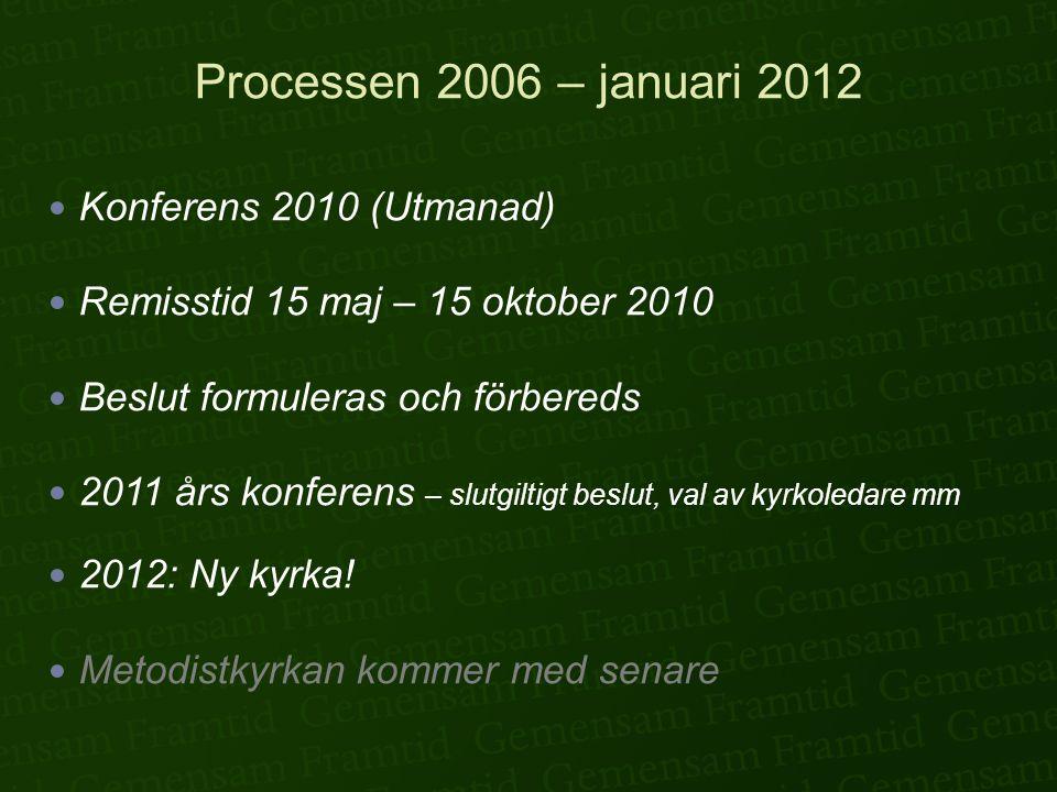 Processen 2006 – januari 2012  Konferens 2010 (Utmanad)  Remisstid 15 maj – 15 oktober 2010  Beslut formuleras och förbereds  2011 års konferens –