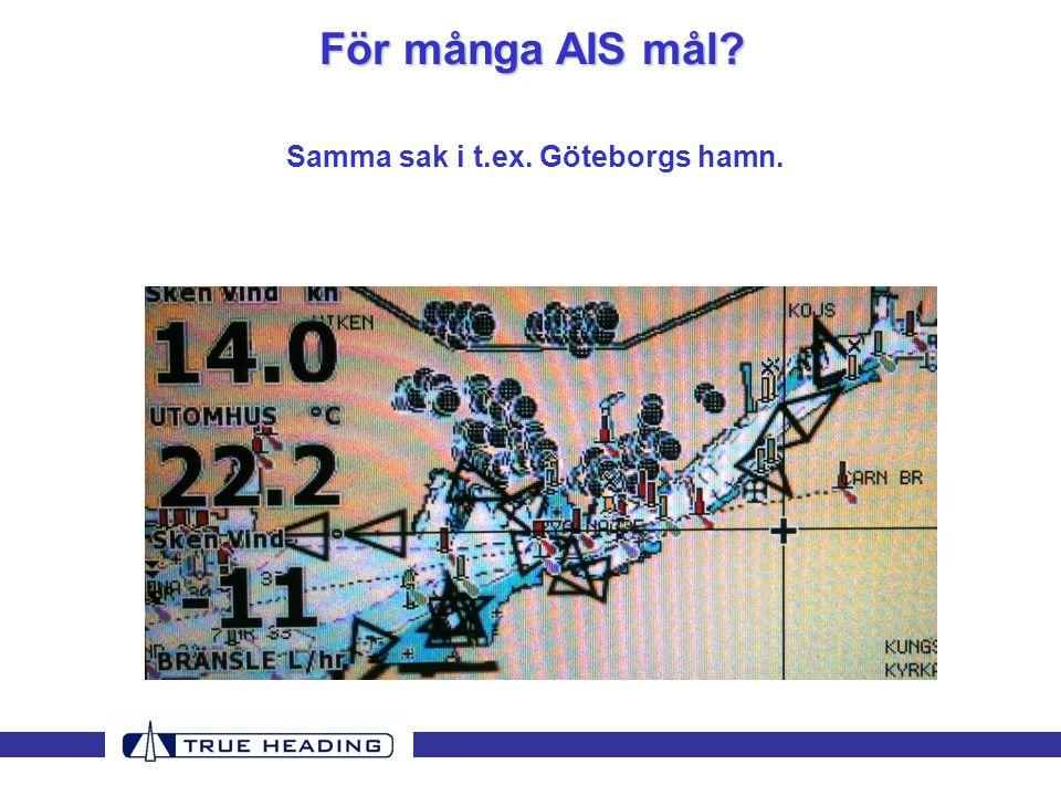 För många AIS mål Samma sak i t.ex. Göteborgs hamn.