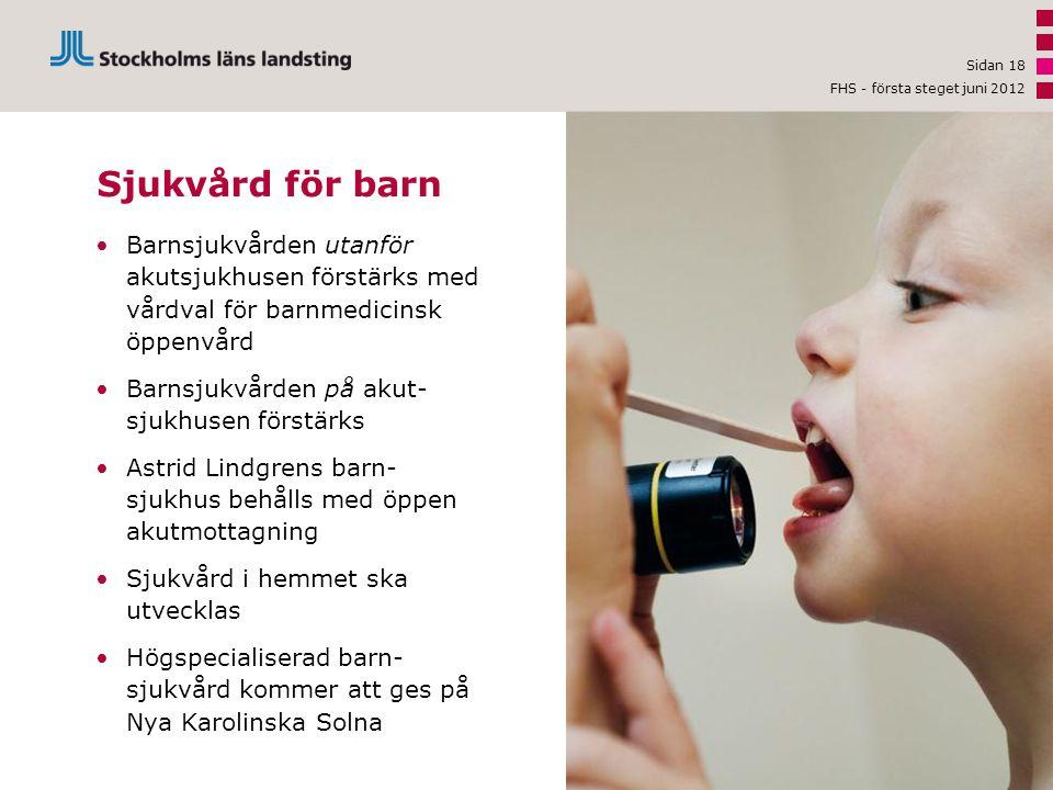 Sjukvård för barn •Barnsjukvården utanför akutsjukhusen förstärks med vårdval för barnmedicinsk öppenvård •Barnsjukvården på akut- sjukhusen förstärks