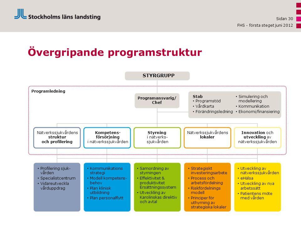 Sidan 30 Övergripande programstruktur STYRGRUPP Programansvarig/ Chef Programledning Stab • Programstöd • Vårdkarta • Förändringsledning • Simulering och modellering • Kommunikation • Ekonomi/finansiering Innovation och utveckling av nätverkssjukvården Nätverkssjukvårdens lokaler Styrning i nätverks- sjukvården Kompetens- försörjning i nätverkssjukvården Nätverkssjukvårdens struktur och profilering • Utveckling av nätverkssjukvården • eHälsa • Utveckling av nya arbetssätt • Patientens möte med vården • Strategiskt investeringsarbete • Process och arbetsfördelning • Riskfördelnings modell • Principer för uthyrning av strategiska lokaler • Samordning av styrningen • Effektivitet & produktivitet Ersättningssystem • Utveckling av Karolinskas direktiv och avtal • Kommunikations strategi • Modell kompetens- behov • Plan klinisk utbildning • Plan personalflytt • Profilering sjuk- vården • Specialistcentrum • Vidareutveckla vårduppdrag FHS - första steget juni 2012