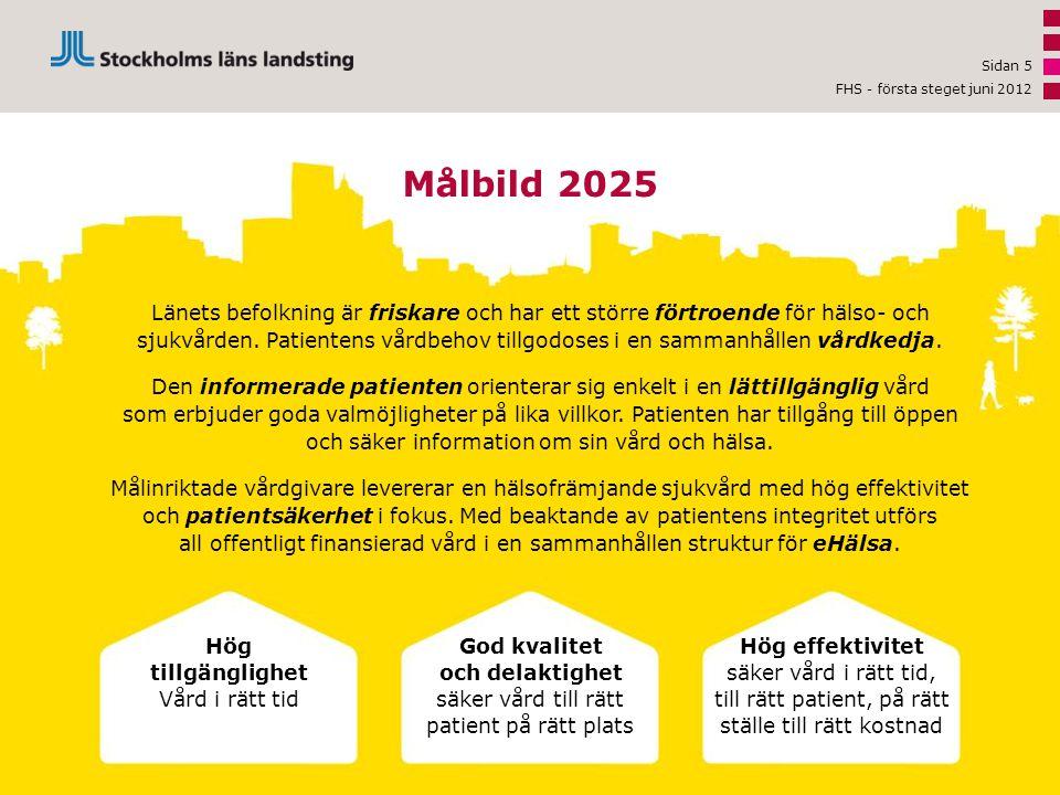 Sidan 5 Målbild 2025 Länets befolkning är friskare och har ett större förtroende för hälso- och sjukvården. Patientens vårdbehov tillgodoses i en samm