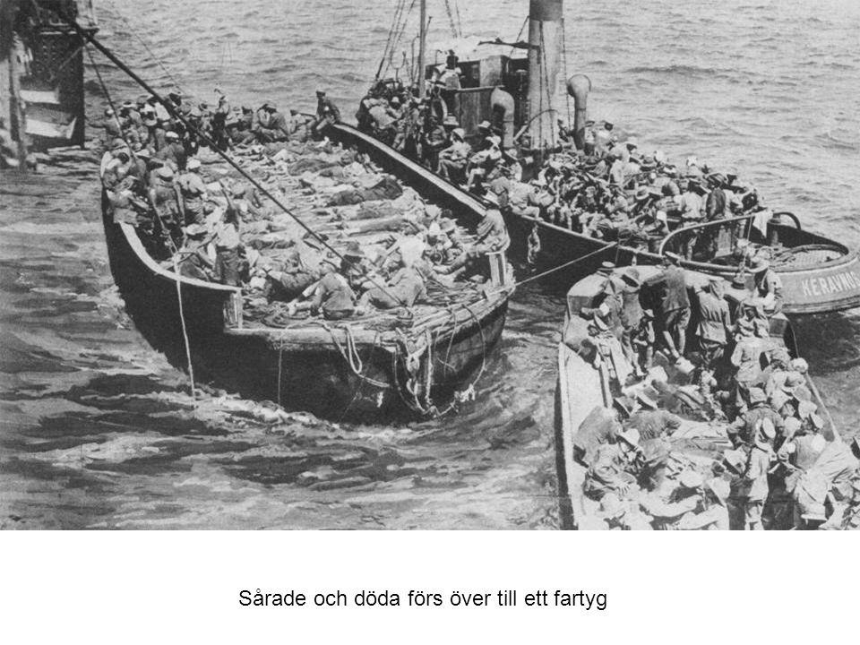 Sårade och döda förs över till ett fartyg