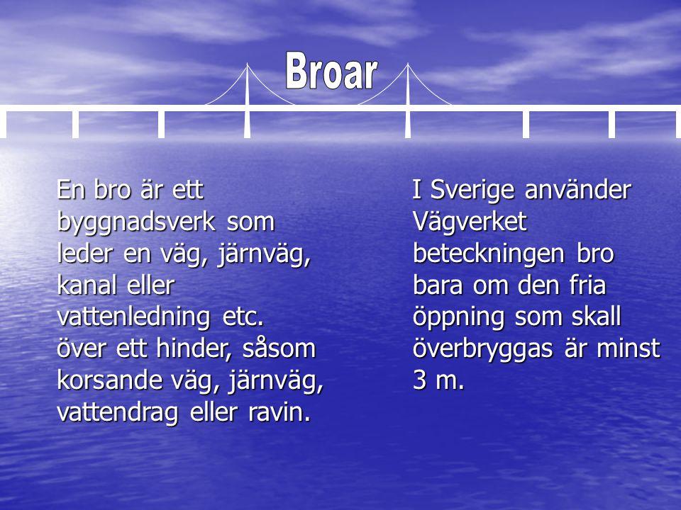 I Sverige använder Vägverket beteckningen bro bara om den fria öppning som skall överbryggas är minst 3 m. En bro är ett byggnadsverk som leder en väg