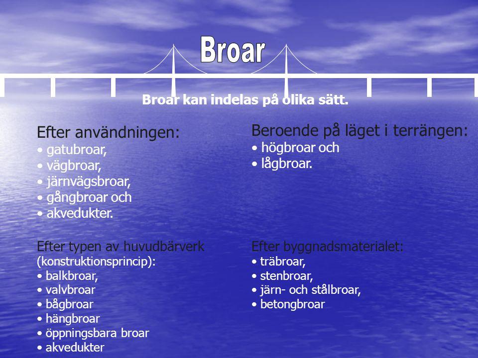 Efter typen av huvudbärverk (konstruktionsprincip): • balkbroar • valvbroar • bågbroar • hängbroar • öppningsbara broar • akvedukter