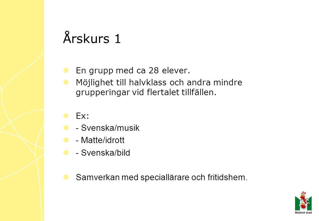 Årskurs 1  En grupp med ca 28 elever.  Möjlighet till halvklass och andra mindre grupperingar vid flertalet tillfällen.  Ex:  - Svenska/musik  -