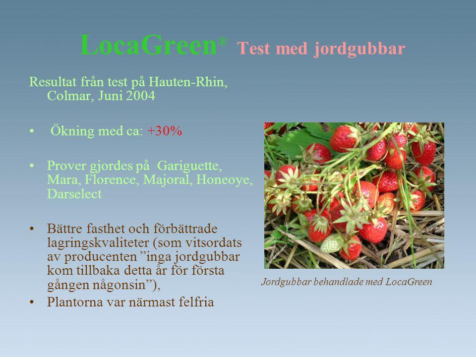 LocaGreen ® Test med jordgubbar Resultat från test på Hauten-Rhin, Colmar, Juni 2004 • Ökning med ca: +30% •Prover gjordes på Gariguette, Mara, Floren