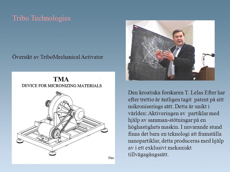 Tribo Technologies Översikt av TriboMechanical Activator Den kroatiska forskaren T. Lelas Efter har efter trettio år äntligen tagit patent på sitt mik