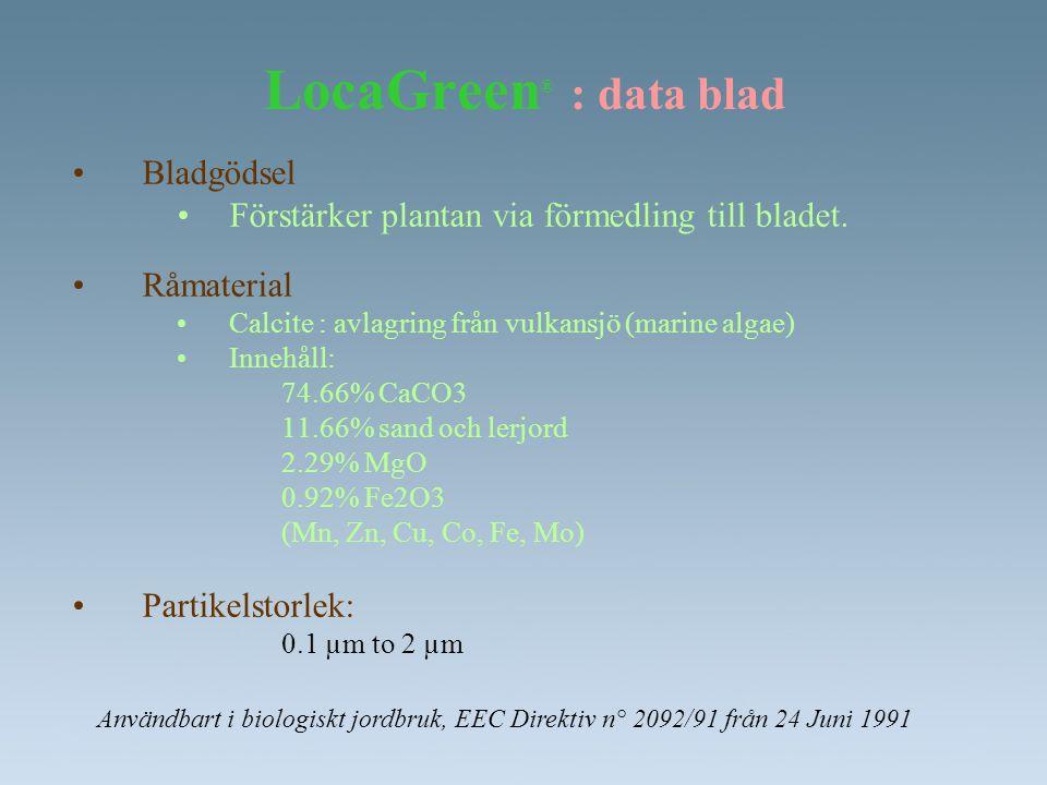 LocaGreen ® : data blad •Bladgödsel •Förstärker plantan via förmedling till bladet. •Råmaterial •Calcite : avlagring från vulkansjö (marine algae) •In