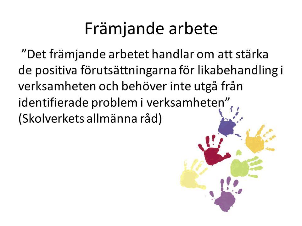 """Främjande arbete """"Det främjande arbetet handlar om att stärka de positiva förutsättningarna för likabehandling i verksamheten och behöver inte utgå fr"""