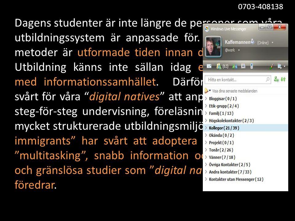 • Pedagogik 2.0 (nät)utbildning skall utformas så att användaren känner sig (och är) i centrum.