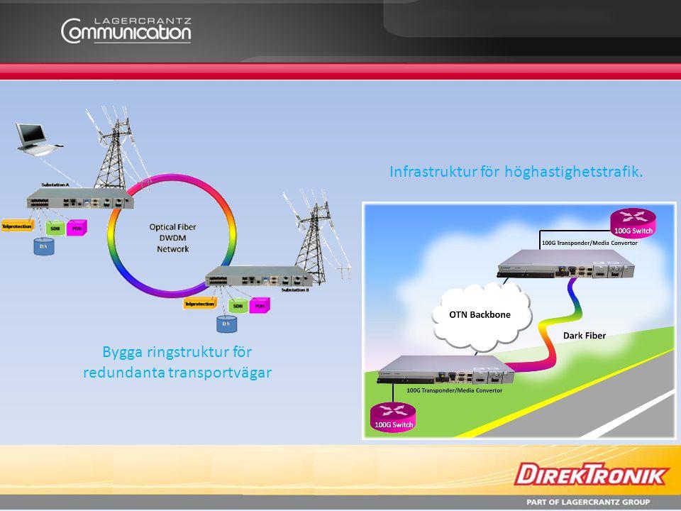 Bygga ringstruktur för redundanta transportvägar Infrastruktur för höghastighetstrafik.
