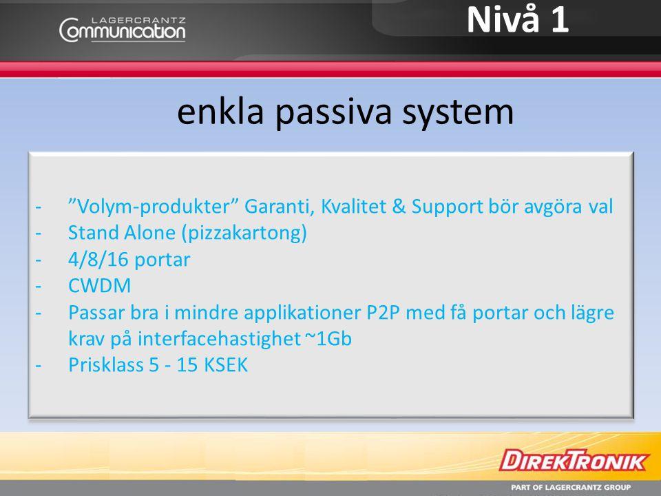 """Nivå 1 enkla passiva system -""""Volym-produkter"""" Garanti, Kvalitet & Support bör avgöra val -Stand Alone (pizzakartong) -4/8/16 portar -CWDM -Passar bra"""
