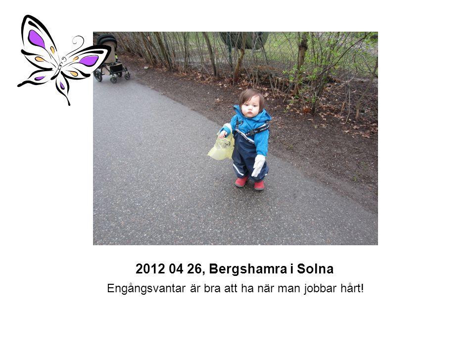 2012 04 26, Bergshamra i Solna Alla tar en fika paus och sedan kastar vi skräpet i miljöstationen vid Bergshamra centrum.