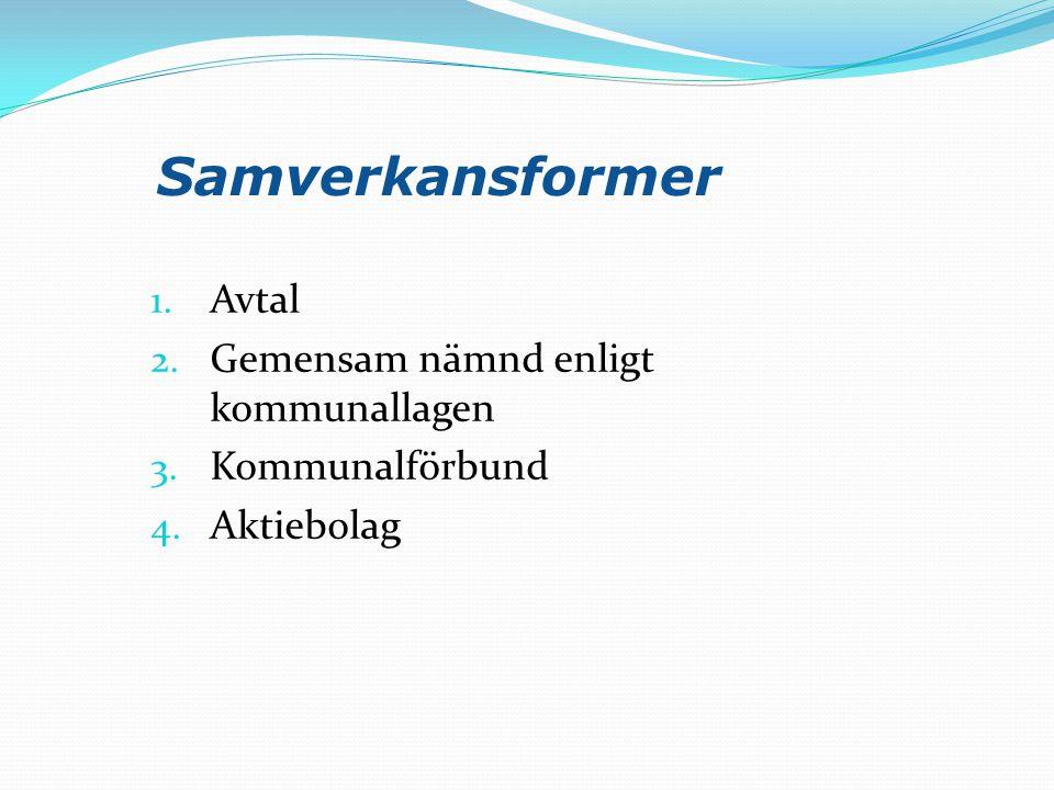 Samverkansformer 1. Avtal 2. Gemensam nämnd enligt kommunallagen 3. Kommunalförbund 4. Aktiebolag