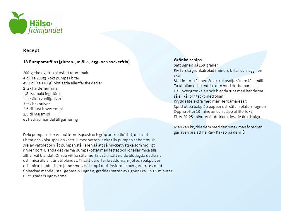 Recept 18 Pumpamuffins (gluten-, mjölk-, ägg- och sockerfria) 200 g ekologiskt kokosfett utan smak 4 dl (ca 200g) kokt pumpa i bitar ev 2 dl (ca 140 g